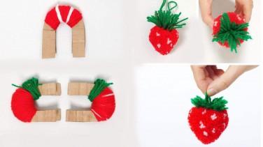 Bebek Kıyafetlerini Süslemek İçin Çilekli Ponpon Yapımı